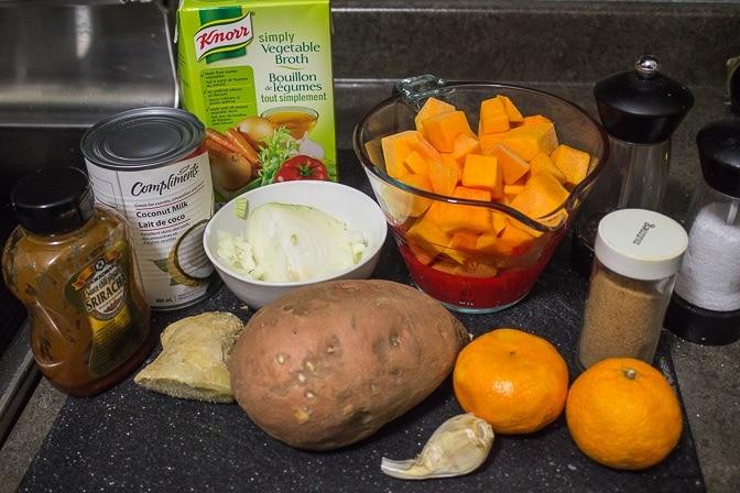Squash, Sweet Potato & Mandarin Soup ingredients