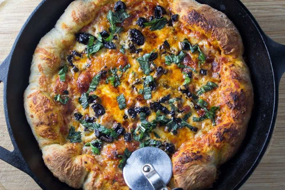 Easy Skillet Pizza. Crispy on the outside, pillowy on the inside. The best!