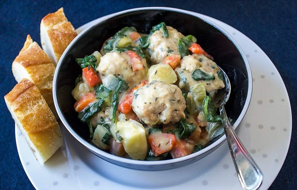Chicken Meatball Stew. Tender meatballs and veggies in a light herb sauce.