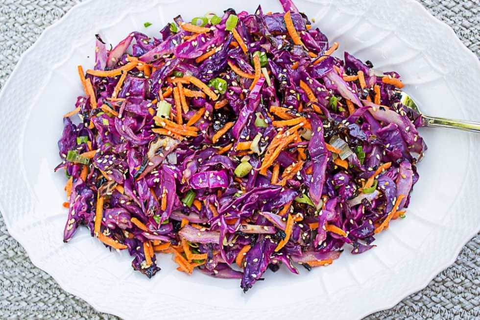 Grilled Coleslaw (no mayo). Charred cabbage, julienne carrots, green onion, sesame seeds and a vinaigrette dressing make this coleslaw a winner.