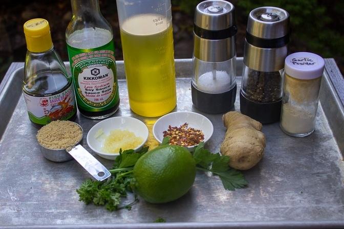 soy sauce, oil, garlic, chili flakes, lime, cilantro, ginger, brown sugar, salt, pepper, fish sauce