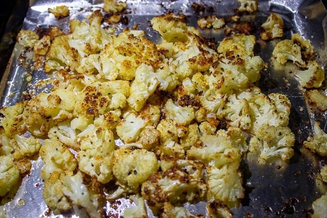 Parmesan roasted cauliflower on pan