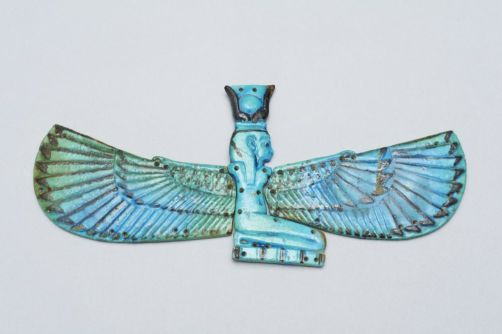 Nut Mummy Amulet, Egyptian blue faience. Eton Myers Collection, Eton College. On loan to the University of Birmingham. Image from UoB Online Collections website.