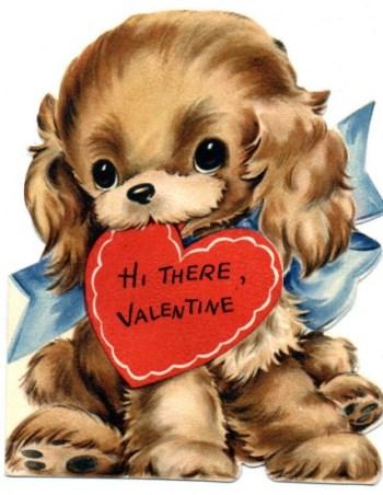 Vintage Valentine Day Puppy