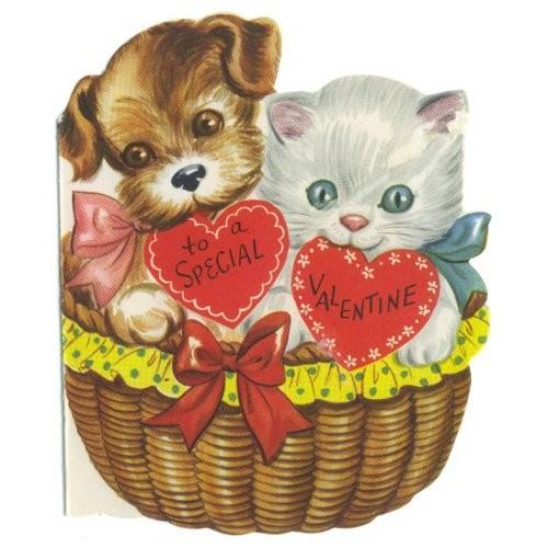 Vintage valentine puppy and kitten