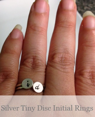 Silver Tiny Disc Initial Ring