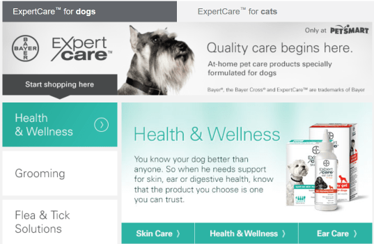 #BayerExpertCare landing page at PetSmart.com