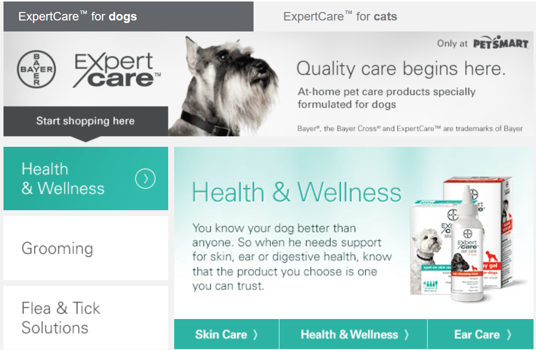 Bayer ExpertCare landing page - Two Little Cavaliers