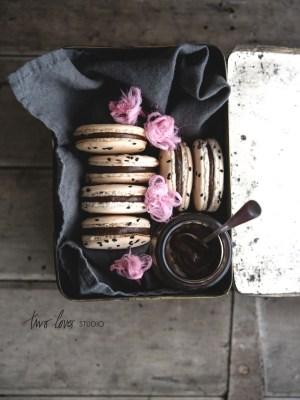 Liquorice Macaron with Persian Fairy Floss Roses