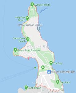 mapa Watsons Bay