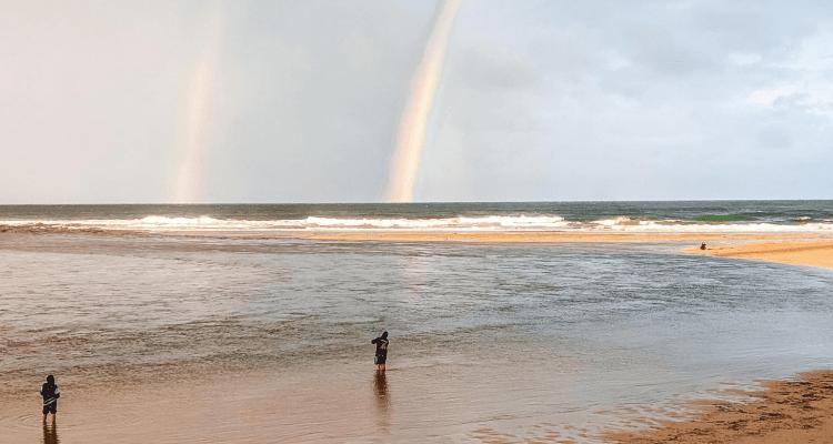 tęcza na plaży