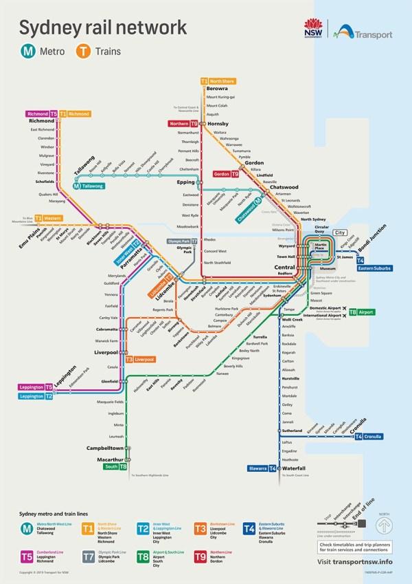 mapa transportu Sydney