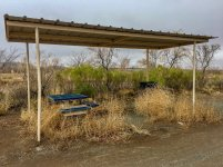 Picnic table and shelter at Koff Veterans Park