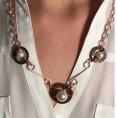 hammered copper necklace, earrings