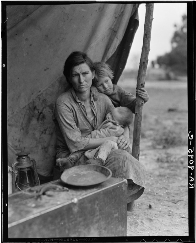 Migrant-mother-Nipomo-Dorothea-Lange Dust Bowl USA - gedocumenteerd door Dorothea Lange