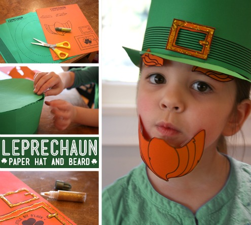 Printable template for a paper hat and beard for a leprechaun costume.