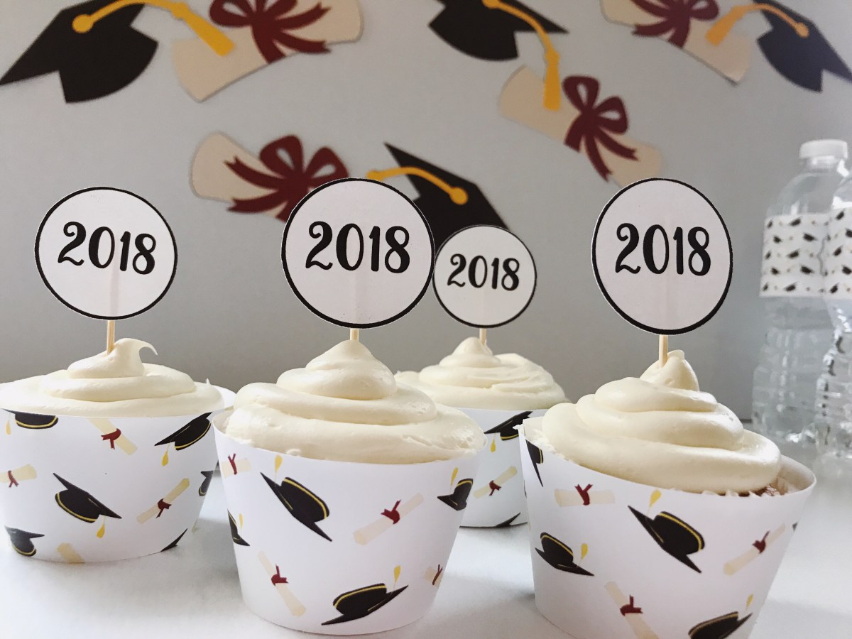 Graduation Cupcake Wrappers and Toppers