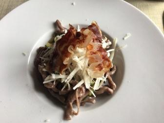 Tonnarelli with bacon, zucchini and pecorino