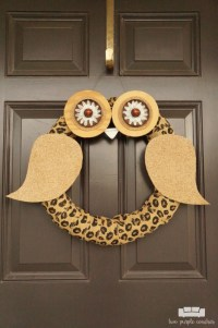 Whoo's There? - DIY Owl Wreath - two purple couches