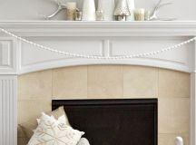Elegant Winter White Mantel - two purple couches