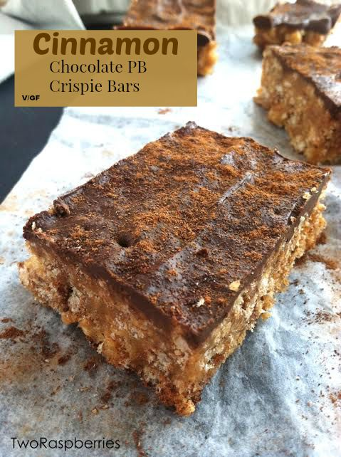 Cinnamon Chocolate PB Crispie Bars