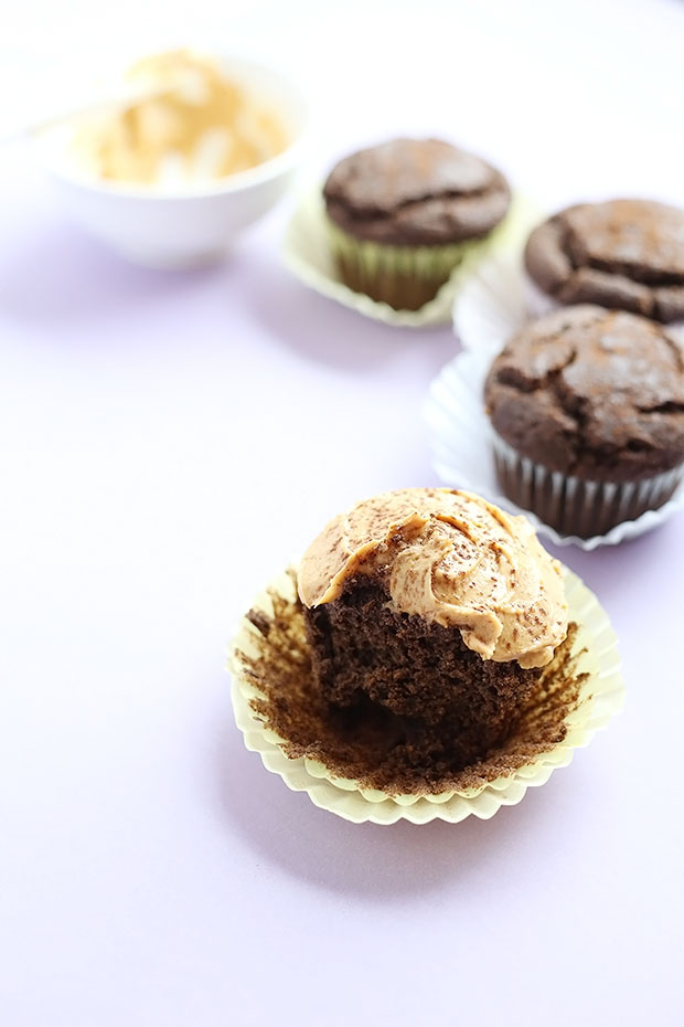 Healthy Vegan Gluten Free Chocolate Cupcakes. Light and moist. Quick and easy to make, only 10 ingredients vegan, gluten free, and refined sugar free! / TwoRaspberries.com