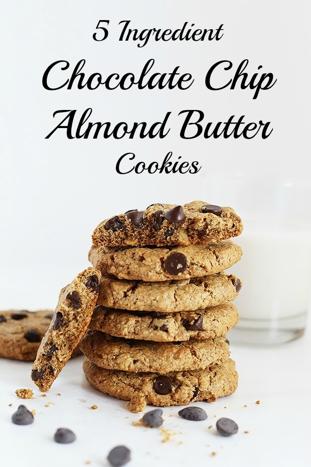 5 Ingredient Chocolate Chip Almond Butter Oat Cookies are super easy to make, only require 1 bowl and they are vegan plus gluten free! / TwoRaspberries.com