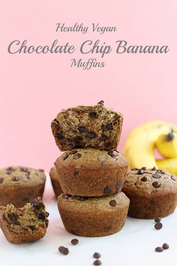 Healthy Vegan Chocolate Chip Banana Muffins are soft and moist, really easy to make, only require 10 ingredients, oil free, vegan and gluten free! / TwoRaspberries.com
