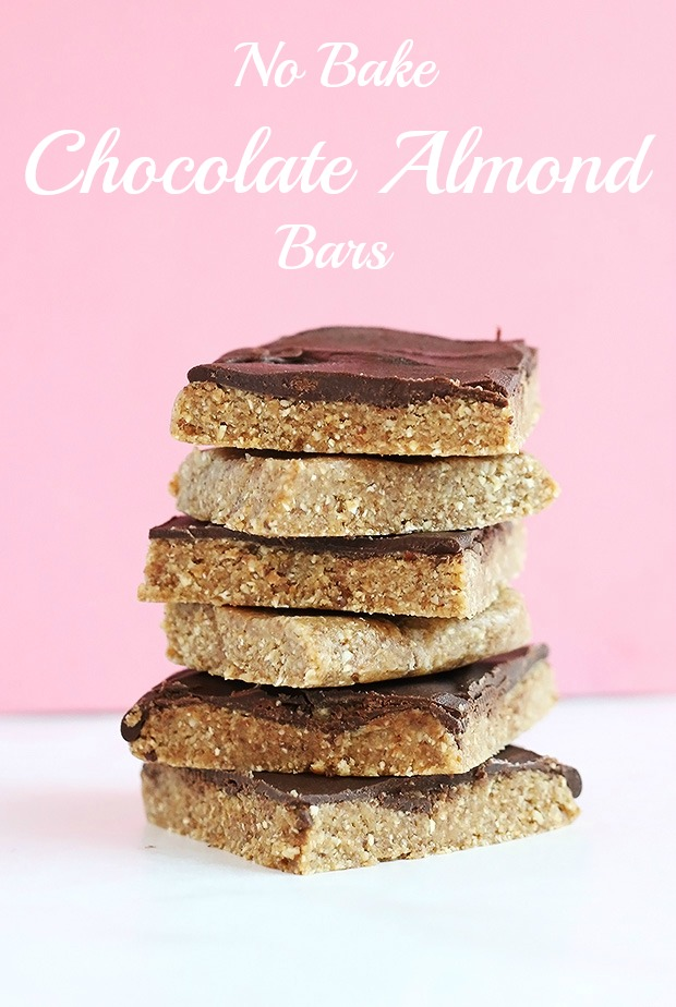 No Bake Chocolate Almond Bars are super healthy and very easy to make only requiring 4 ingredients, dates, almond, oats and vegan chocolate chips! Vegan and Gluten Free! / TwoRaspberries.com