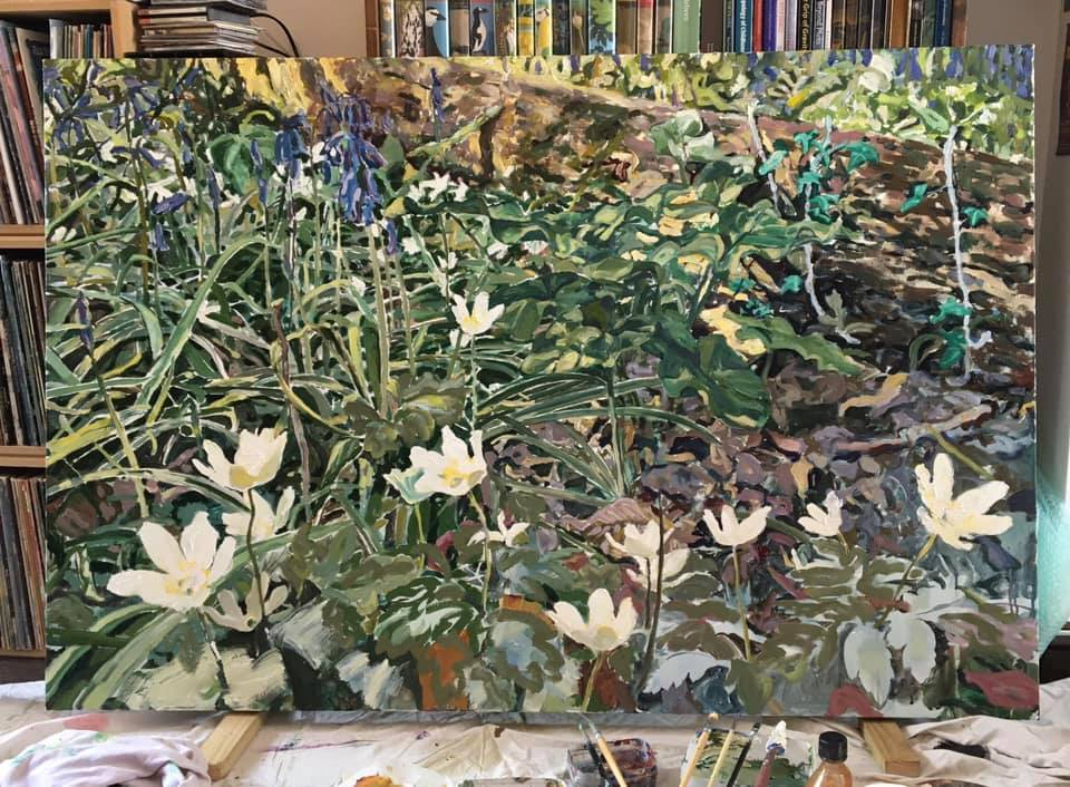 A painting of Wood Anemones in West Reading by Geoff Sawers Aug 2021