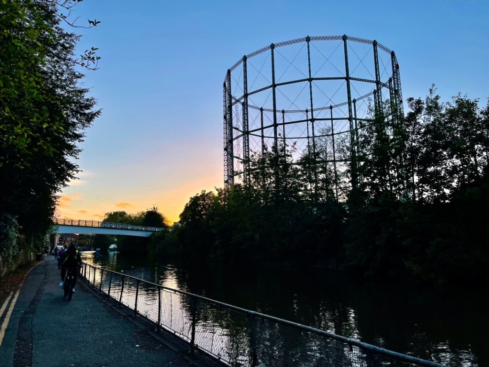Gas holder four, as seen from Kennet Side, October 2021