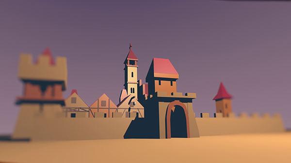 rysunek 3D miasta obronnego ze średniowiecza