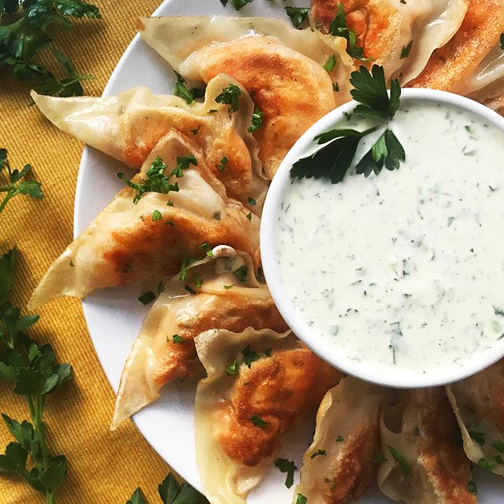 Buffalo Cauliflower Dumplings with Ranch Dip
