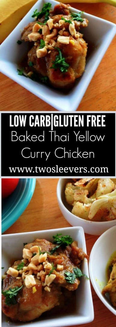 Easy baked Thai Yellow Curry Chicken. Low Carb, High Protein, Gluten-free and delicious.|twosleevers.com
