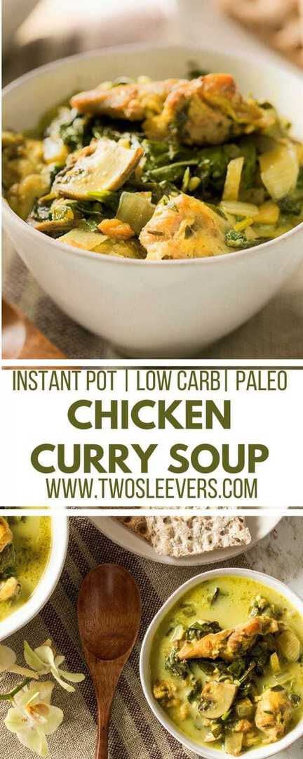 Chicken Curry Soup | Instant Pot Soup Recipe | Instant Pot Soup | Low Carb Soup | Chicken Soup Recipe | Low Carb Chicken Soup Recipe | Chicken Dinner Recipe | Two Sleevers #chickensoup #instantpot #instantpotsoup