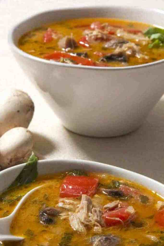 This is a recipe for Thai Yellow Curry Soup that uses curry paste, coconut milk and some fresh vegetables to provide a savory, comforting twist on regular chicken soup. This soup is well-spiced, but not spicy, and you can vary the spice level by adjusting how much yellow curry paste you choose to put into it.