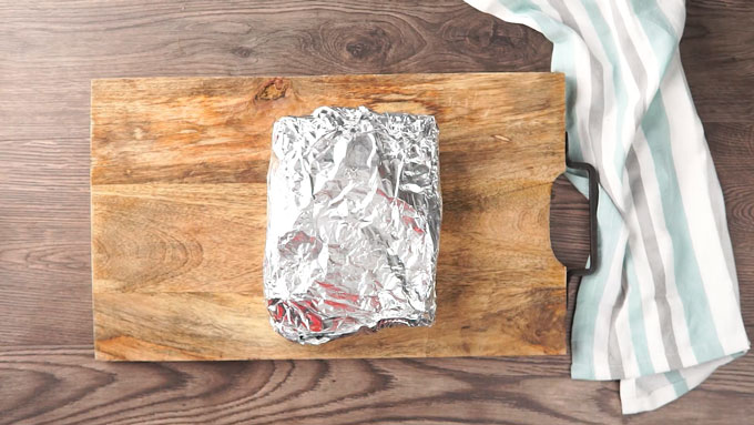 finished gyro loaf wrapped in foil overhead