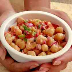Instant Pot Chana Salad. A quick, tangy summer salad with an Indian Twist. Love this refreshing salad on a hot day!