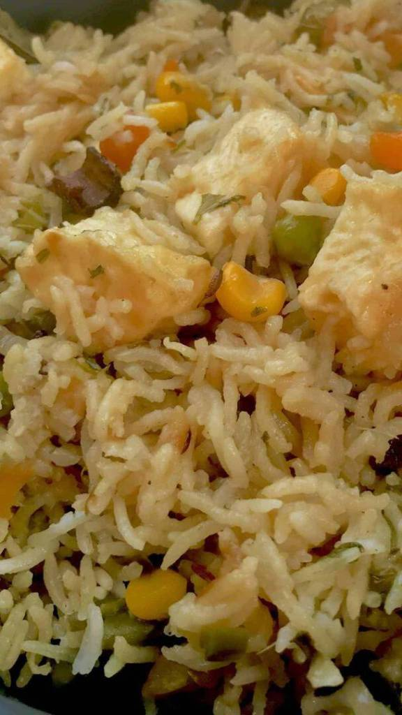 Paneer veg biryani closeup 576x1024 - Instant Pot Paneer Vegetable Biryani - https://twosleevers.com