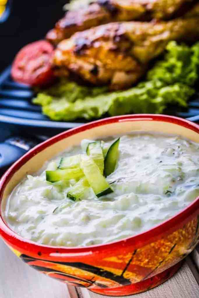 Homemade Tzatziki sauce with greek yogurt is a refreshing side to home made gyros