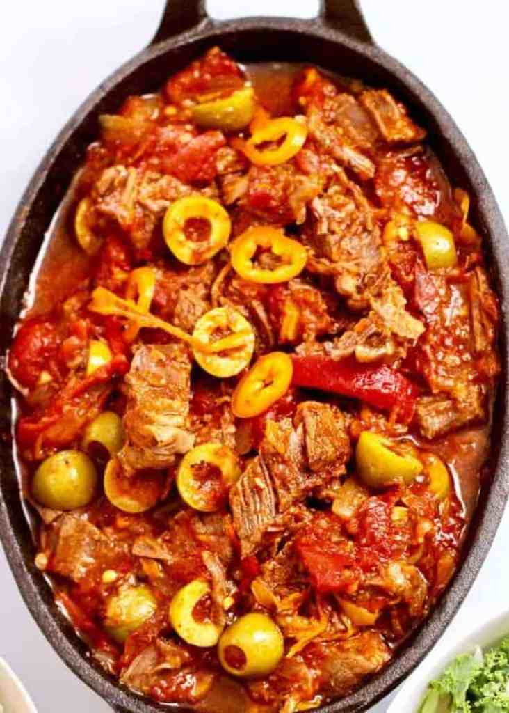 Instant Pot Cuban Ropa Vieja makes an almost effortless low carb mix of meat and vegetables in your pressure cooker. A colorful feast for the eyes as well as your tastebuds, make this dish with less than 10 minutes of prep time. This Ropa Vieja makes a lovely sauce to pour over rice, or to have with a side salad to serve a tasty, low-carb meal.