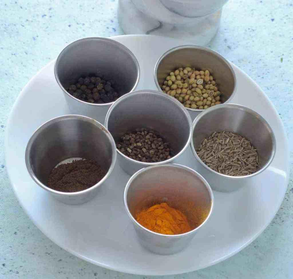 Ingredients for kafta kabab spice mix recipe