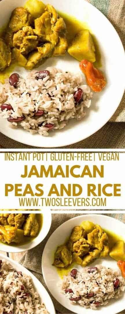 Make authenticJamaican Peas and Rice at home in a flash with your Instant Pot! This recipe follows a nontraditional way to get you traditional taste, Jamaican Peas and rice  Instant Pot Peas and Rice   Vegan  Kidney beans and Rice  Pressure cooker peas and rice 