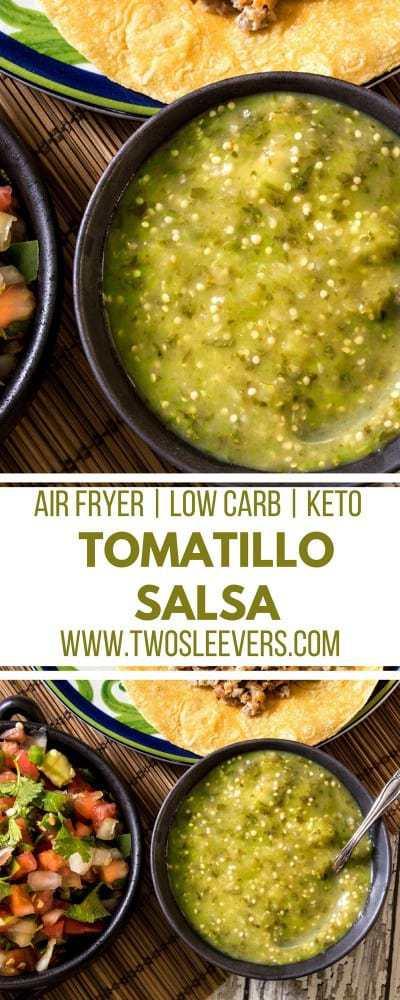 Air Fried Tomatillo Salsa   Tomatillo Salsa Recipe   Tomatillo Salsa   Salsa Recipe   Best Salsa Recipe   Roasted Salsa Recipe   Two Sleevers #airfriedsalsa #salsarecipe