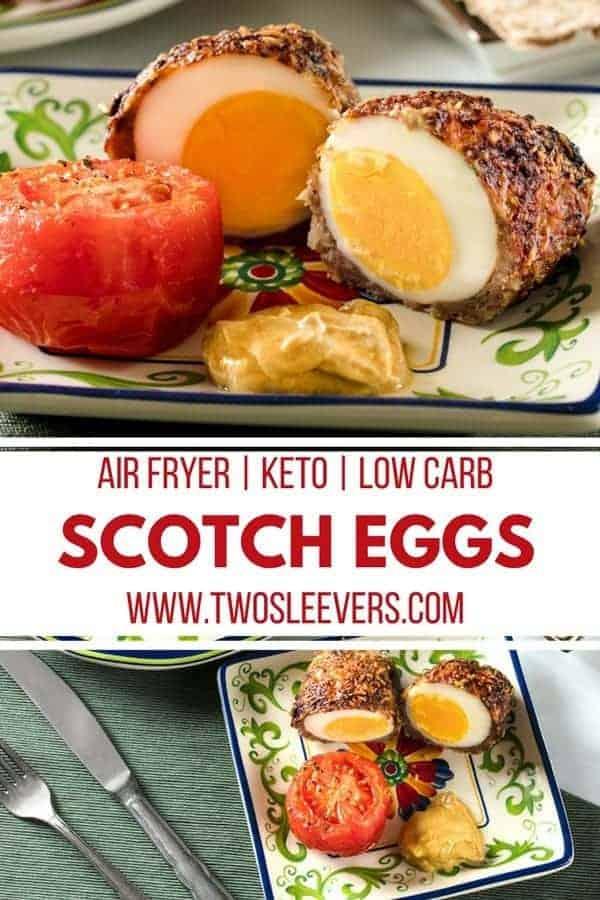 Scotch Eggs | Air Fried Scotch Eggs | Scotch Egg Recipes | Air Fryer Recipes | Keto Recipes | Keto Scotch Eggs | Low Carb Recipes | English Recipes | English Cuisine | Two Sleevers | #twosleevers #scotcheggs #keto #lowcarb #airfryer
