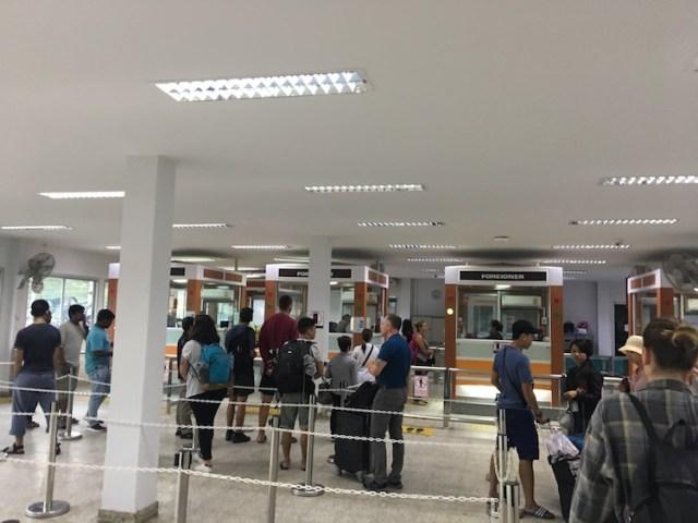 Thailand Cambodia border crossing passport control room