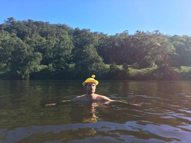 Matt having a swim at Bendeela Camping Reserve