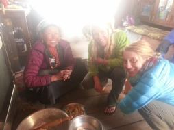 Kris and Ebeth making momos with Chorten in her kitchen