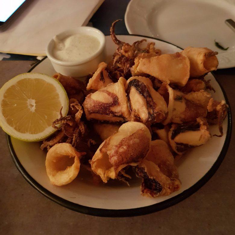 mykonos seafood restaurant, best calamari mykonos, mykonos beach restaurant