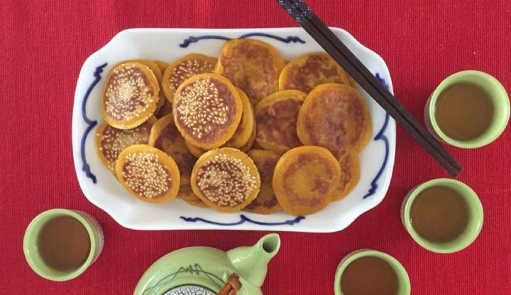 Pumpkin, vegan, diary free, egg free, dessert, sesame, Chinese dessert